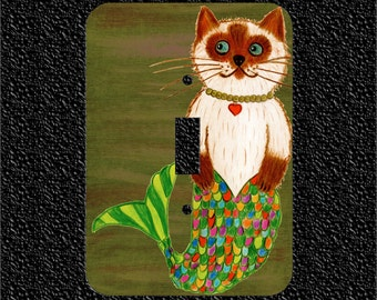 Mr Mer-Cat or Mermaid Kitty switch plate covers available in Toggle/Rocker/Outlet