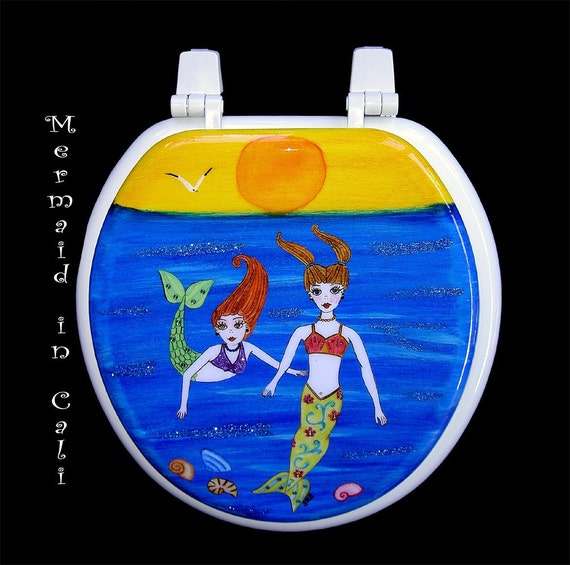 Toilet Seat Two Little Mermaid Sisters Adorned With Swarovski
