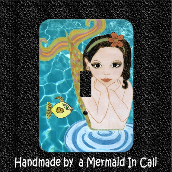 Little Mermaid Light Switch Plate Covers- Brown Eyed Girl in Toggle/Rocker/Outlet