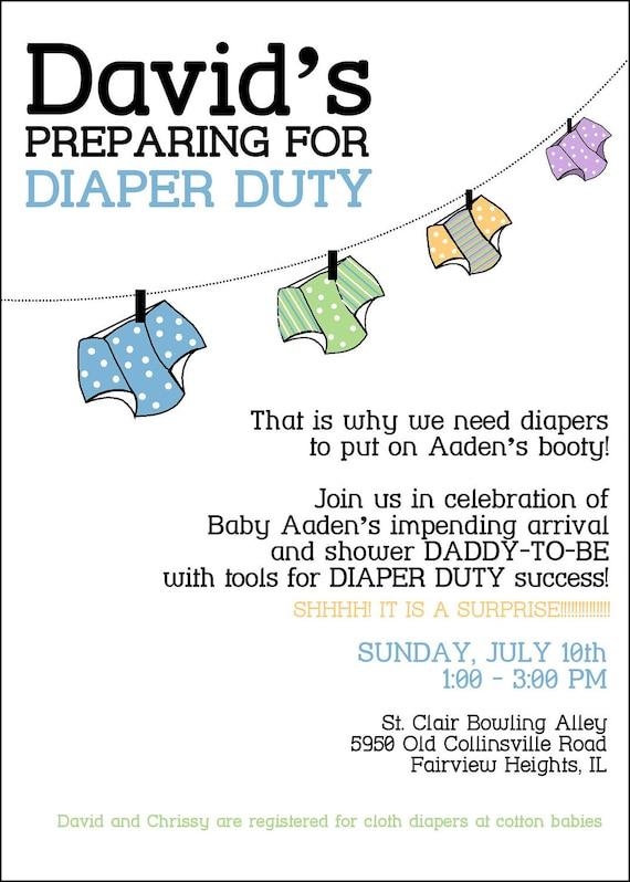gender neutral dad daddy baby diaper shower flat invitation