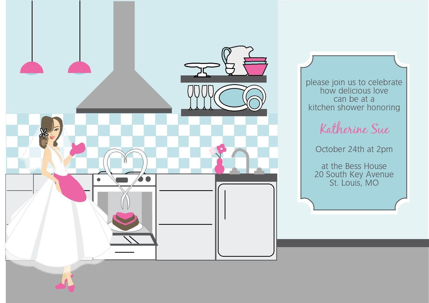 Kitchen Shower Exclusive Faces Collection Vintage Inspired Pink And Blue Cooking