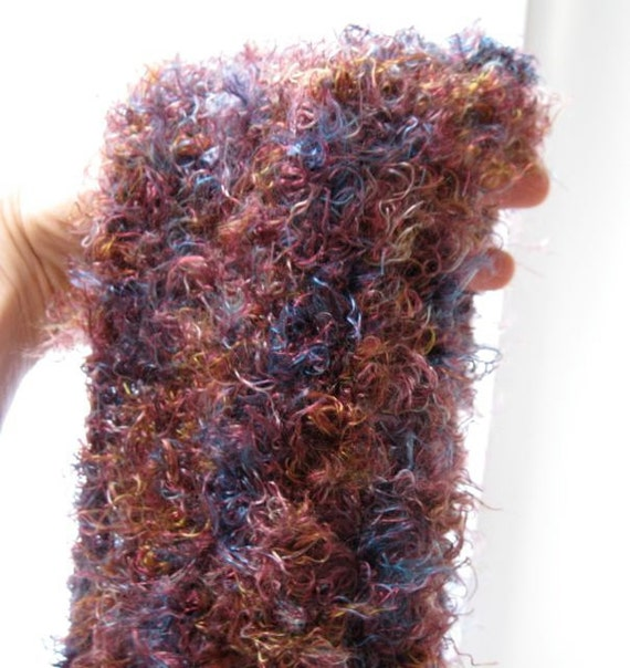 Pink Passion:  multicolor fuzzy scarf, seed stitch