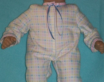 SALE/ 15 inch Doll Flannel 1-Piece Pajamas with Feet