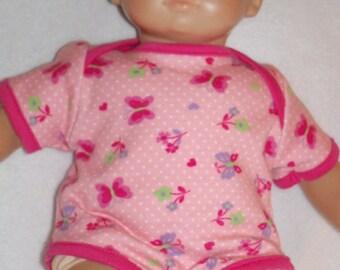 15 inch Doll Pink Onesie with Dark Pink Trim
