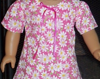18 inch Doll Pink with White Daisies A-line Dress