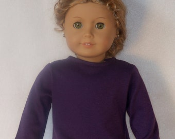 18 inch Doll Long Sleeved Purple Crew Neck Tee-Shirt