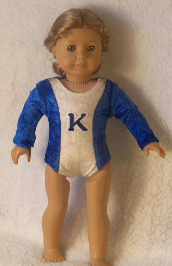 18 inch Doll Blue & White Gymnastic Performance Leotard