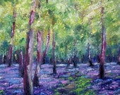 Bluebell Wood Impressionist Landscape Oil Pastel Painting. Original Art, Framed with Mount