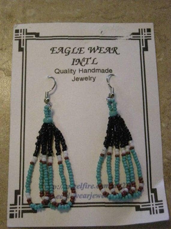 Native American Earrings, Loops-Turquoise/Black/Brown