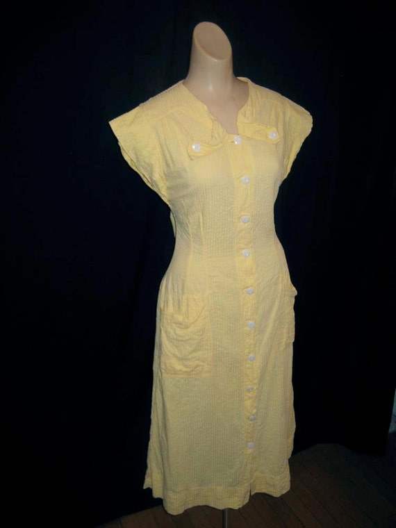 Excellent Sunshine Yellow 1930s 1940s Seersucker Cotton Day Dress House Dress medium 14