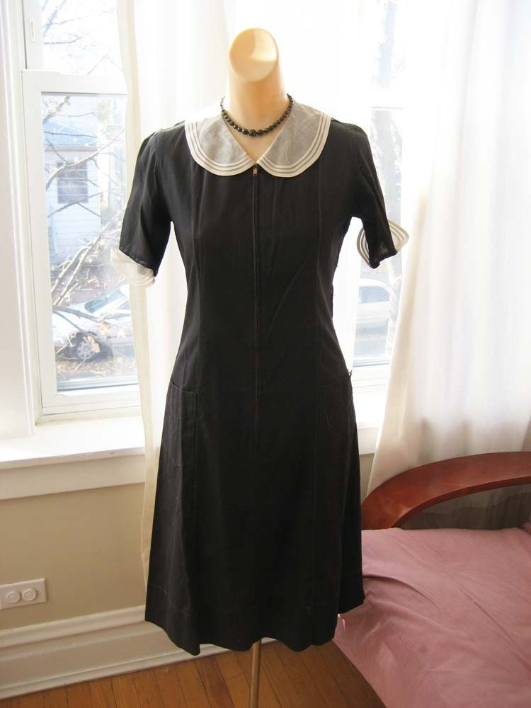 Sale vintage 1920 39 s or 1930 39 s black cotton day dress for Modern house dress