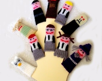 Wizard Friends Finger Puppet Set  (Includes 10 handcrafted puppets.)  We can create custom listings of individual puppets or puppet sets.
