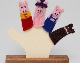 Three Little Pigs Finger Puppet Set (Includes 3 Pigs and the Big Bad Wolf.)  We can create custom orders.