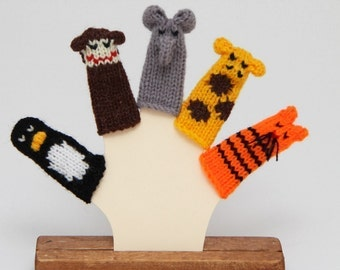 Zoo Animals Finger Puppet Set (Includes Penguin, Monkey, Elephant, Giraffe, and Tiger.)  We can make custom orders.