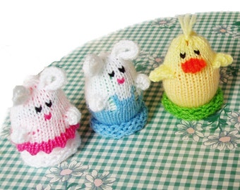 Mini Easter Egglets (Set of 3 - 1 Boy Bunny, 1 Girl Bunny, and 1 Chick.)  Want a different grouping - just contact us.