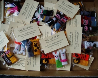 Custom Finger Puppet Party Favor Pack.  We can create custom orders out of any of the puppets in our shop.