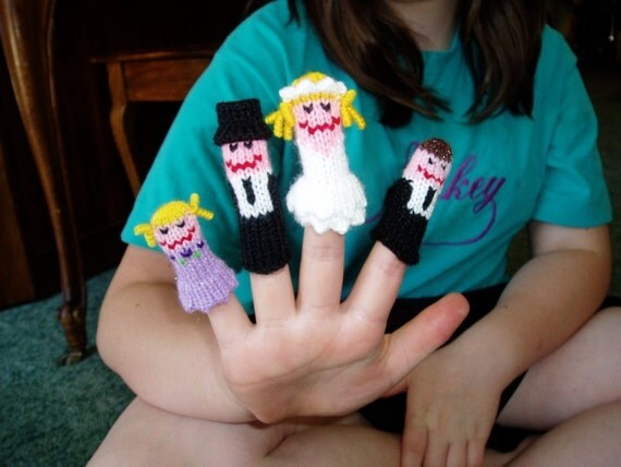 Reserved for Samantha.  Custom Wedding Finger Puppet Set (Inclues Bride, Groom, Page Boy, and 2 Dogs)