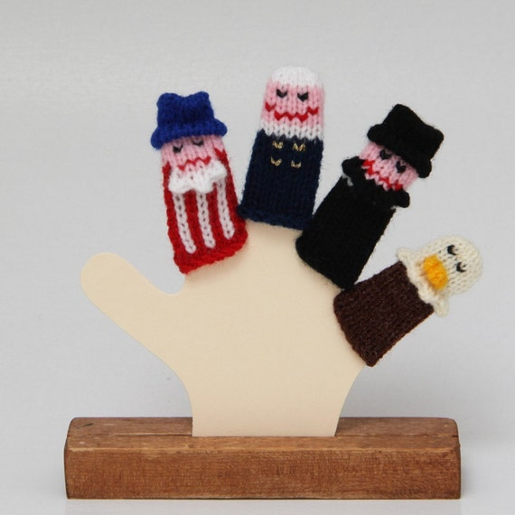 Patriotic Finger Puppets (Includes Uncle Sam, George Washington, Abraham Lincoln, and a Bald Eagle.)