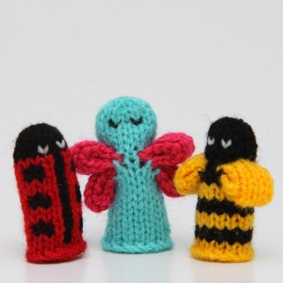 Bugs Finger Puppet Sets as seen in Parents Magazine  (Includes Bumble Bee, Lady Bug, Spider, Caterpillar, and Butterfly.)   We can create custom orders of individual puppets or puppet sets.