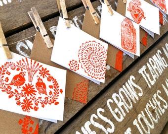 Mixed Set of 5 - Mexican Folk Art  Blank Cards