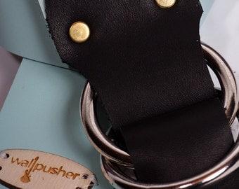 Leather Guitar Strap in Light Blue on Black