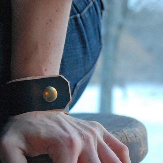 leather cuff bracelet black