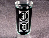 2 Groomsmen Gift Shot Glasses,  Monogrammed Gifts, Etched Glass