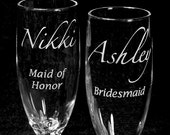 8 Wedding Party Gifts Personalized Champagne Flutes for Bridal Shower, Bachelorette Party