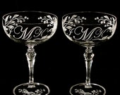 2 Dragonfly Wedding Champagne Saucers, Monogrammed Crystal Champagne Coupes, Goblets