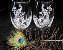2 Peacock Themed Wedding Wine Glasses, Etched Glass Wedding Decorations