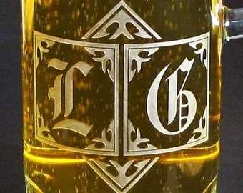 2 Monogrammed Beer Mugs Etched Glass Beer Steins,  Personalized Gift for Men