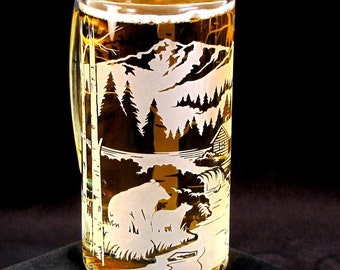 Etched Glass Beer Stein, Bear by Mountain Cabin, Woodland Wedding Gift for Groomsmen