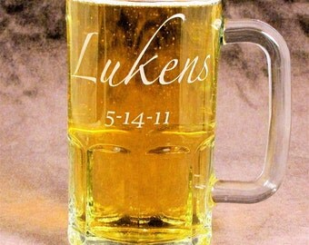 Personalized Beer Mug Etched Glass Beer Stein, Beer Lover Present for Man