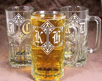 5 HUGE 1 Liter Beer Steins,  Wedding Beer Mug Gift for Groomsmen