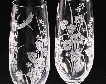 2 Wedding Champagne Flutes, Fine Crystal Champagne Glasses with Tropical Flowers, Dragonfly