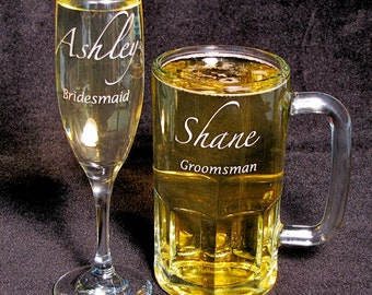 10 Wedding Party Gifts Personalized Beer Steins & Champagne Glasses, Presents for Bridal Party