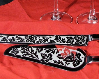 Fall Wedding Cake Server and Knife Set, Personalized and Engraved Gift for Rustic Wedding