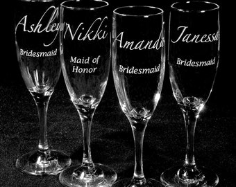 6 Bridesmaids Gifts Champagne Glasses, Personalized Presents for Wedding Party, Toast Flutes