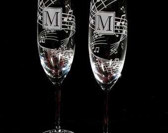 2 Music Themed Wedding Champagne Flutes, Fine Crystal Champagne Glasses