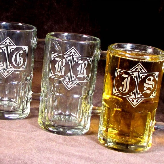 4 Personalized Beer Mugs, Monogrammed Beer Steins, Etched Glass Gifts for Men