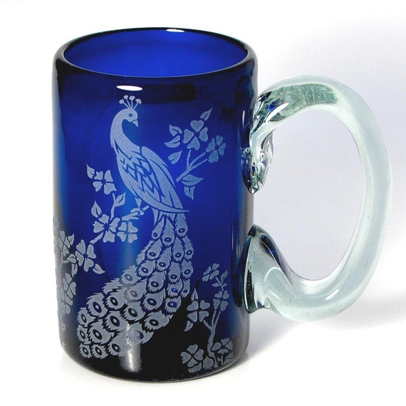 Cobalt Blue Peacock Mug, Special Edition Wedding Party Gifts