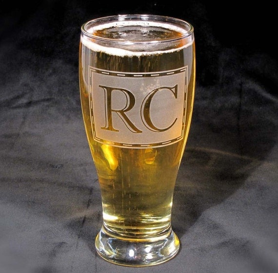 Pint Glass, Monogrammed Gift for Best Man, Etched Glass