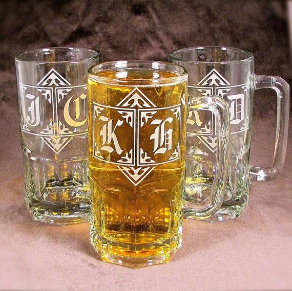8 Gigantic Monogrammed One Liter Beer Steins, Giant Groomsmen Usher Gifts, Presents for Men