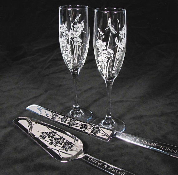 orchid wedding set champagne flutes cake server set. Black Bedroom Furniture Sets. Home Design Ideas
