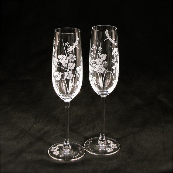 Beach Wedding Champagne Flutes, Engraved Crystal, Tropical Flowers ...