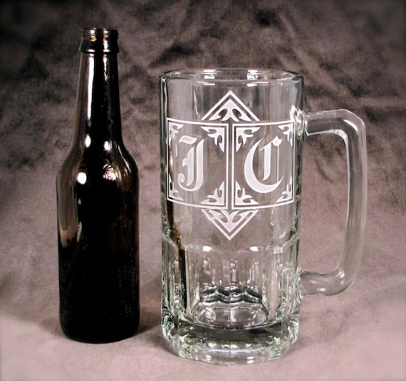 Two 2 GIGANTIC 1 Liter Monogrammed Beer Steins
