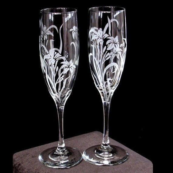 wedding custom designed champagne flutes by bradgoodell