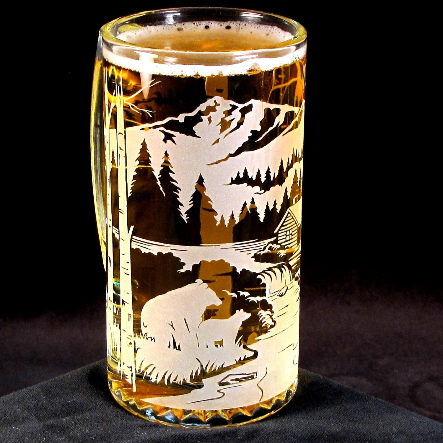 Etched Glass Beer Stein Bear By Mountain Cabin Woodland
