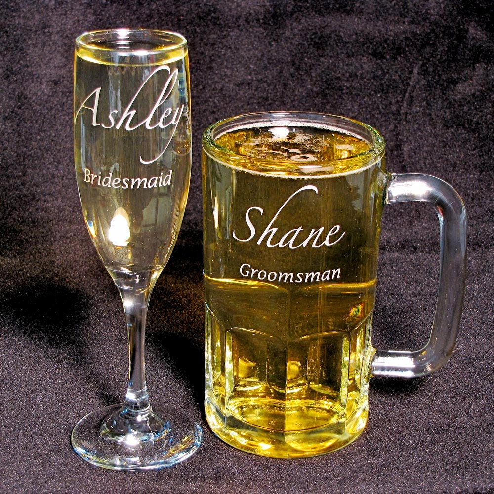 Engraved Wedding Mugs : 10 Champagne Flutes Groomsmen Beer Mugs Personalized Wedding