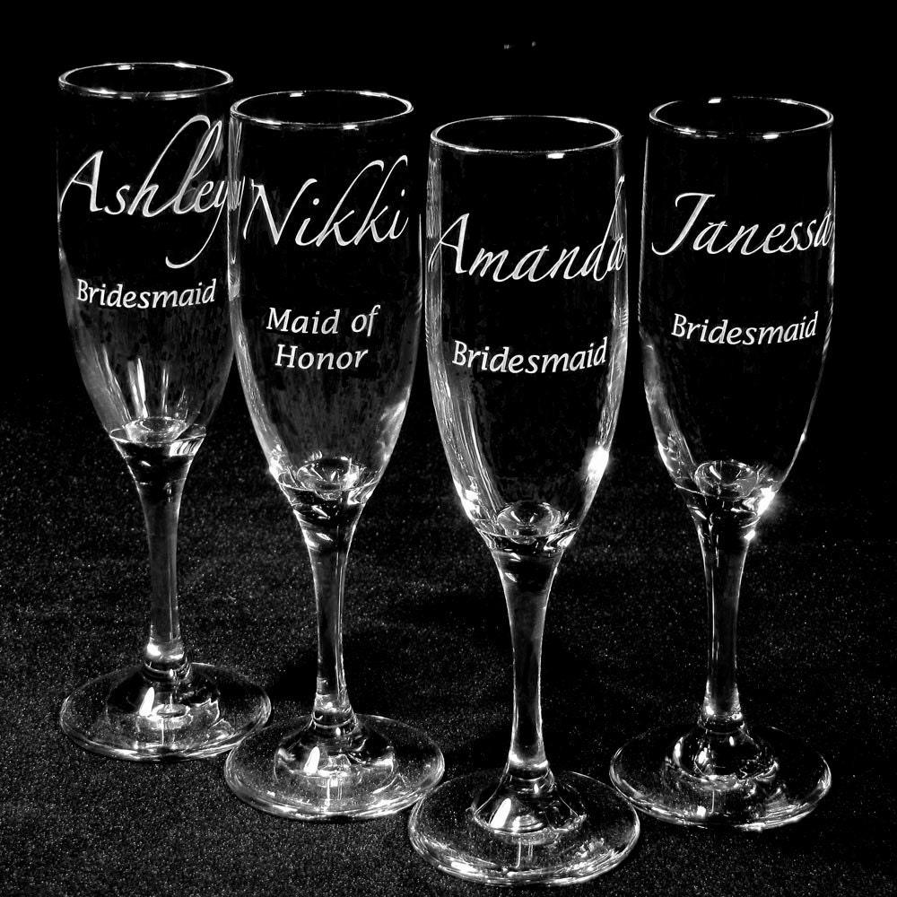 Wedding Gift For Bridesmaid: 4 Wedding Party Champagne Flutes Table Settings By Bradgoodell